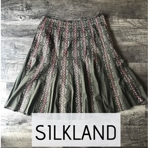 SilkLand 100% Cotton Embroidered Flare Skirt